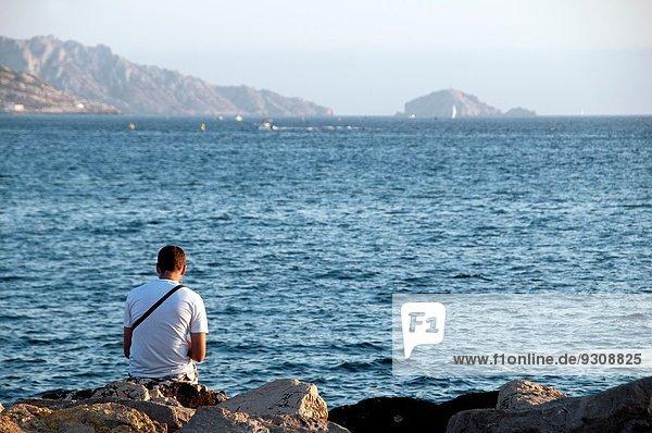 Frankreich, Mann, ruhen, Abend, Küste, 1, Marseille