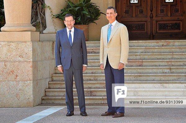 Palast Schloß Schlösser Besuch Treffen trifft König - Monarchie Balearen Balearische Inseln Palma de Mallorca Spanien spanisch