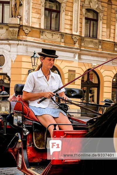 Woman carriage driver escorts tourists around Prague.