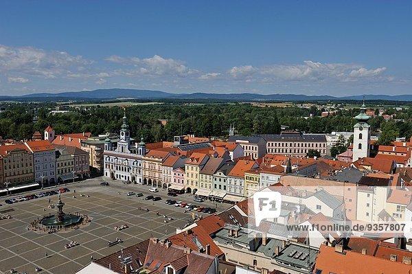 Premysl Ottokar II Square viewed from the top of the Black Tower  Ceske Budejovice  South Bohemian Region  Czech Republic  Europe.