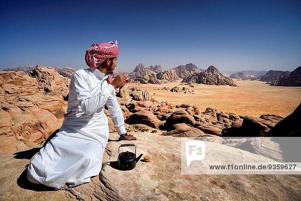 Schutz hoch oben Liste Berg Zimmer UNESCO-Welterbe eingravieren Beduine Pause Tee