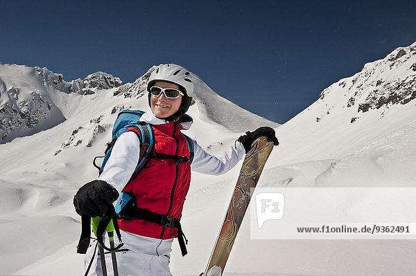 Austria  Salzburg  Altenmarkt-Zauchensee  Austrian woman skiing