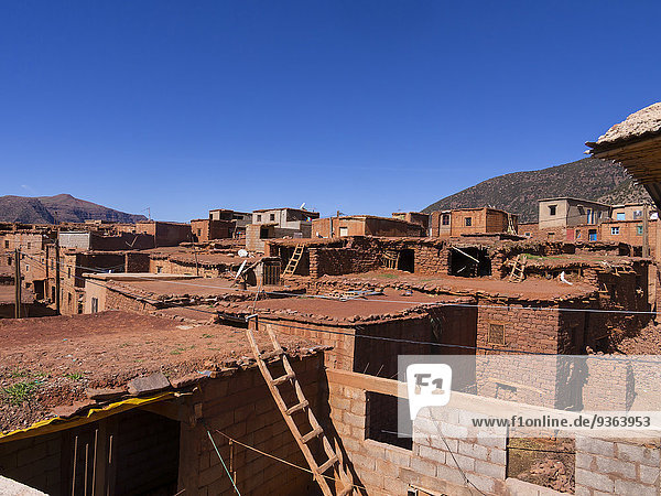 Morocco  Marrakesh-Tensift-El Haouz  Atlas Mountains  Village Anammer  Ourika Valley  Loam houses