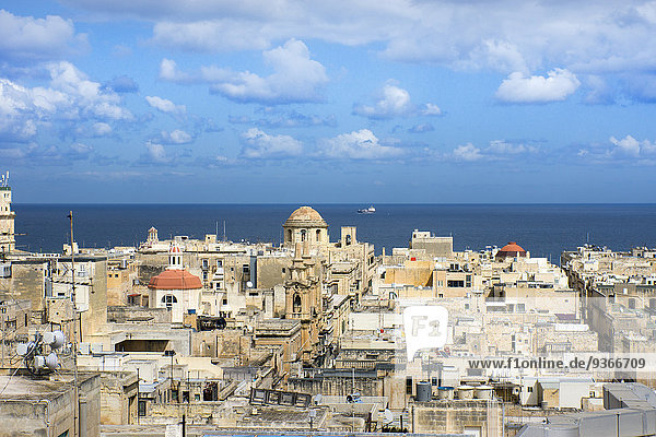 Malta  Valletta  cityscape and Mediterranean Sea
