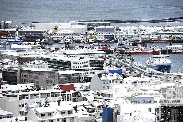 Reykjavik Hauptstadt Stadtansicht Stadtansichten Ozean Ansicht Luftbild Fernsehantenne Island
