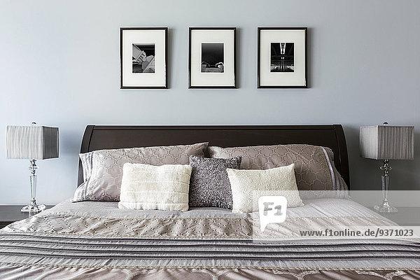 Schlafzimmer, Bett, Lampe, Gemälde, Bild, modern