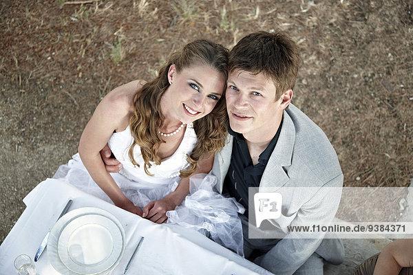 Außenaufnahme Hochzeit Tisch freie Natur