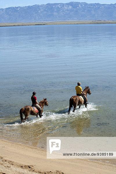 Couple Riding On the Beach  Croatia  Dalmatia  Europe