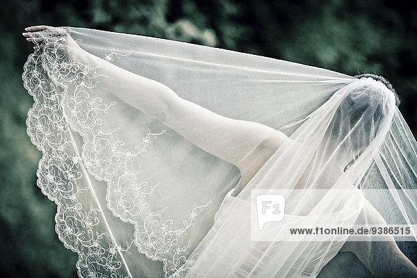 Rückansicht Braut Hochzeit Kleid Schleier
