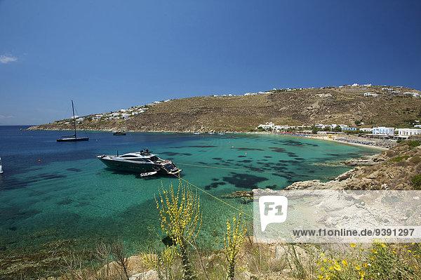 Außenaufnahme Landschaftlich schön landschaftlich reizvoll Europa Tag Landschaft Küste niemand Boot Meer Insel Griechenland Kykladen griechisch Mittelmeer Mykonos Platis Gialos