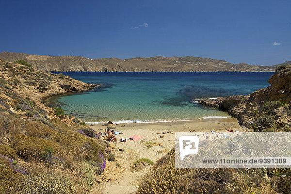 Außenaufnahme Landschaftlich schön landschaftlich reizvoll Europa Tag Strand Landschaft Küste niemand Meer Insel Griechenland Sandstrand Kykladen griechisch Mittelmeer Mykonos