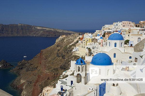 Außenaufnahme bauen Europa Tag Gebäude niemand Architektur Kirche Religion Insel Griechenland Santorin Kapelle Christ Kykladen griechisch Mittelmeer Oia Ia