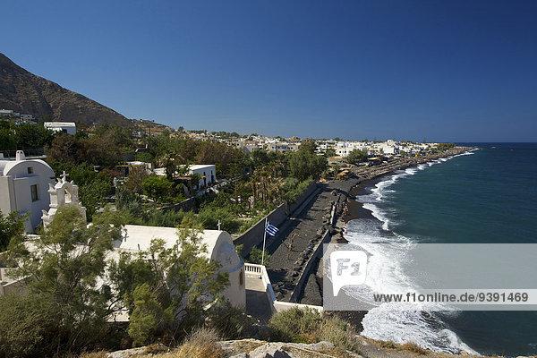 Greece  Europe  Cyclades  island  isle  islands  Greek  outside  Mediterranean Sea  day  nobody  Santorin  Santorini  Kamari  beach  seashore  sea