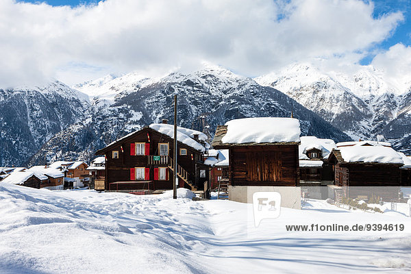 Europa Winter Wohnhaus Gebäude Dorf Schweiz Kanton Wallis