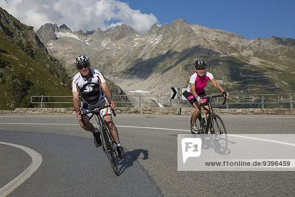 Frau Mann Fahrrad Rad Eis Rennrad Moräne Fahrrad fahren