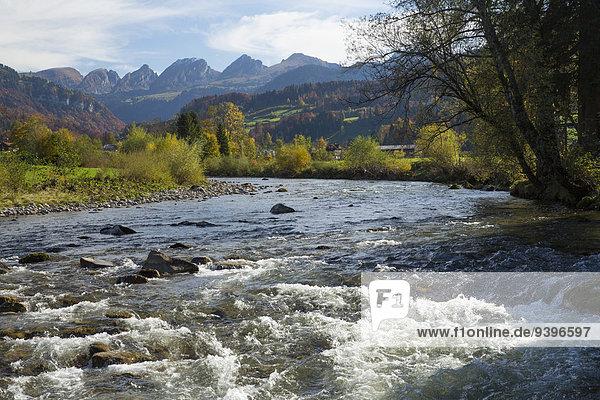 Toggenburg  Thur  Neu St. Johann  mountain  mountains  autumn  SG  canton St. Gallen  Alpstein  Säntis  river  flow  body of water  water  Switzerland  Europe