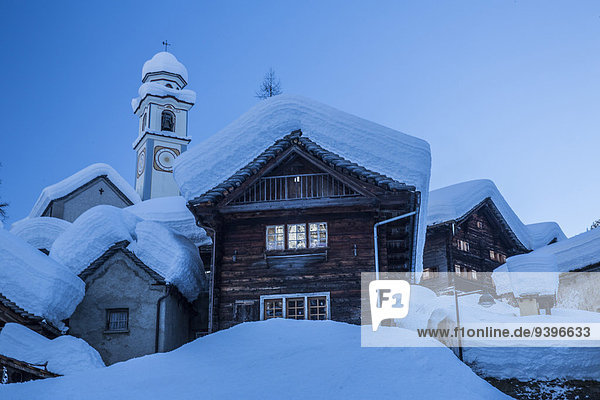 Europa Winter Dorf Schnee Schweiz Südschweiz