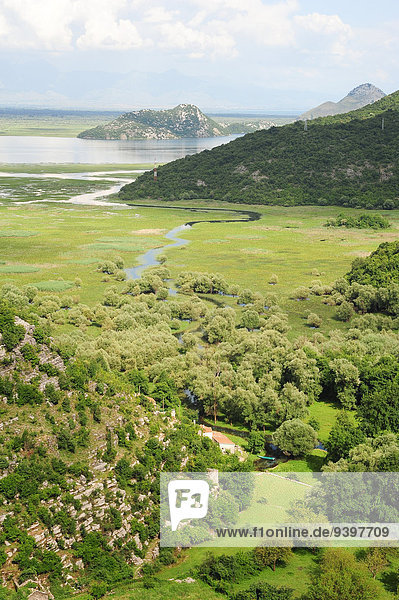 Panorama Außenaufnahme Ländliches Motiv ländliche Motive Landschaftlich schön landschaftlich reizvoll Wasser Europa Berg Urlaub Sommer Himmel Landschaft grün See Natur Ansicht Balkan Idylle Montenegro freie Natur Tourismus