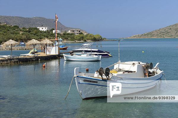 Hafen Europa Boot Insel Griechenland Kreta griechisch