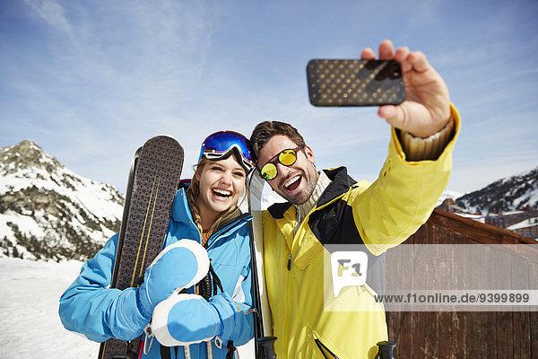 Gemeinsames Fotografieren im Schnee