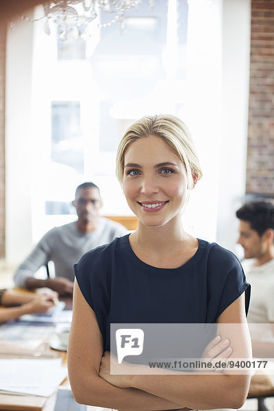 Woman smiling in cafe