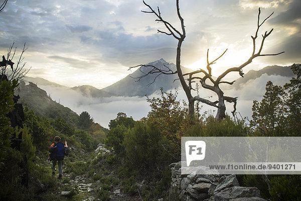 Frau Berg Landschaft Weg Dunst wandern vorwärts Hintergrundbild Korsika