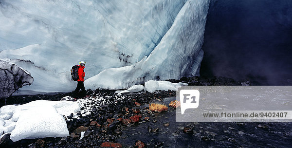 40-44 Years Backpack Backpacker Beauty In Nature Cap Climber Cold day exploring extreme sports Frozen Full Length Hiking Horizontal Horizontal Ice Ice Cave Iceland Kverkfjoll Leisure Mature Adult National Park One Mature Man Only One Person outdoors Scen