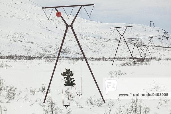 Vereinigte Staaten von Amerika USA Freileitungsmast Außenaufnahme Landschaftlich schön landschaftlich reizvoll Schnee Winter Tag Ruhe Landschaft Hügel Schönheit niemand Natur Pflanze Querformat Stromleitung Horizont Kälte Sehenswürdigkeit Chugach Mountains Alaska gefroren freie Natur Thompson Pass