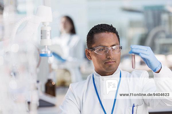Wissenschaftler untersucht Reagenzglas im Labor