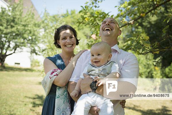 lachen lächeln Menschliche Eltern Baby