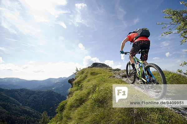 mountain biker on the way uphill  Slatnik  Istria  Slovenia