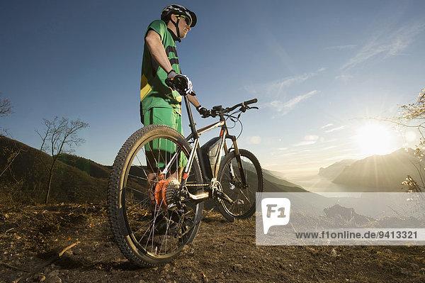 Man biking on electric mountain bike