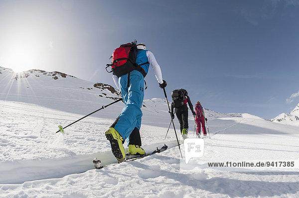 Winter Ski 3 klettern Hang Schnee steil