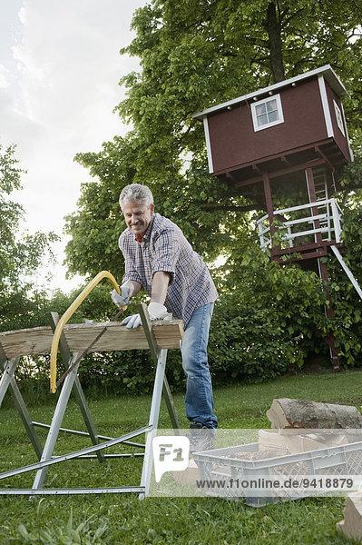 Feuerholz Baumhaus Mann reifer Erwachsene reife Erwachsene Garten Säge