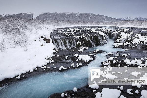 Bruarfoss im Winter  Fluß Brúará  Suðurland  Island