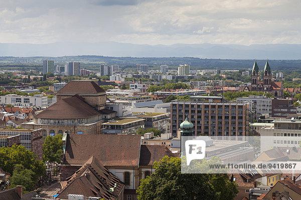 View across the city from the Münsterturm tower  Freiburg im Breisgau  Breisgau  Baden-Württemberg  Germany