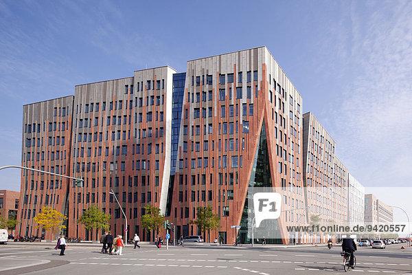 Modernes Wohn-,  Büro- und Geschäftsgebäude Sumatra,  Sumatrakontor,  Überseeboulevard,  HafenCity,  Hamburg,  Deutschland