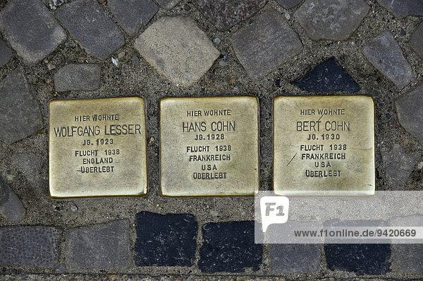 Stolpersteine  ??Gedenksteine für geflohene Juden  Stralsund  Mecklenburg Vorpommern  Deutschland