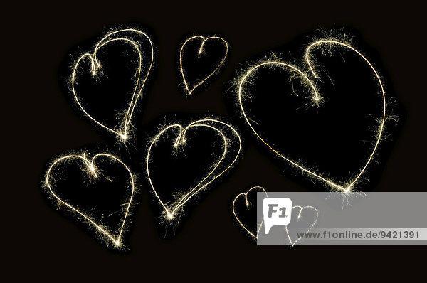 Lightpainting  Herzen  Funken