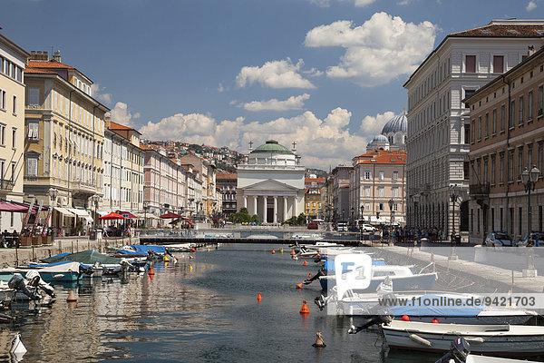 Canal Grande with classical church Sant?Antonio Taumaturgo  Trieste  Friuli-Venezia Giulia  Italy