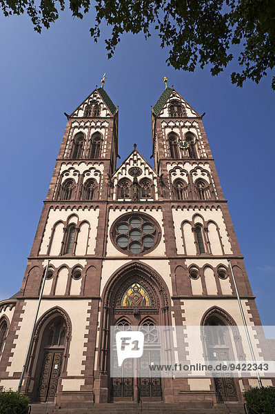 Herz Jesu-Kirche  or Sacred Heart Church  built in the style of Historicism  consecrated in 1897  Freiburg  Baden-Württemberg  Germany
