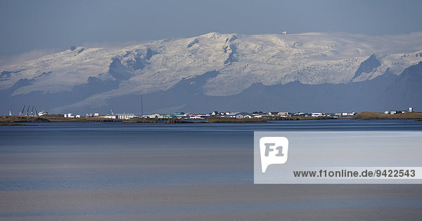 Town of Höfn in front of the Vatnajökull glacier  Iceland