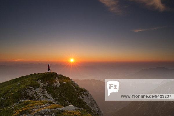 Sonnenuntergang mit Bergsteiger auf Gipfel mit Allgäuer Alpen  Oberstdorf  Bayern  Deutschland