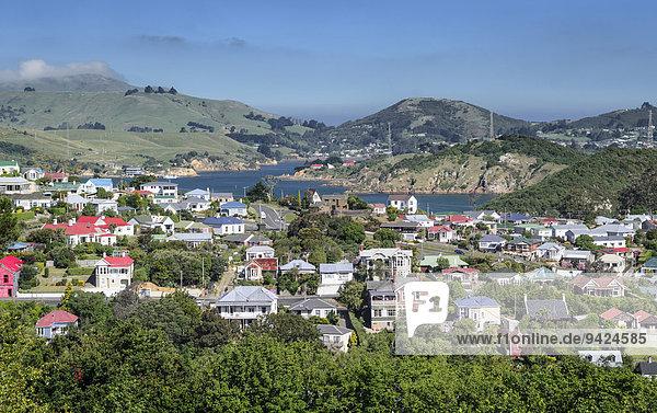Blick auf Siedlung Port Chalmers  Dunedin  Südinsel  Neuseeland