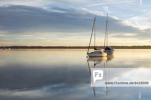 Morgenstimmung  Boote auf dem Starnberger See bei Tutzing  Bayern  Deutschland  Europa  ÖffentlicherGrund Morgenstimmung, Boote auf dem Starnberger See bei Tutzing, Bayern, Deutschland, Europa, ÖffentlicherGrund