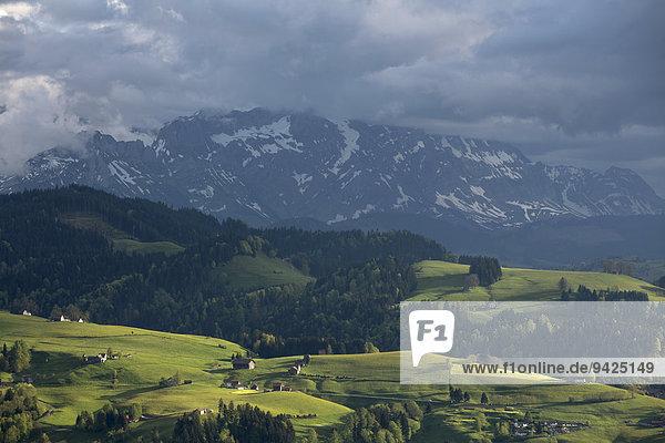 Wolkenverhangener Berg Kaien  Rehetobel  Kanton Appenzell Ausserrhoden  Schweiz  Appenzeller Vorland  Kanton Appenzell Ausserrhoden  Schweiz
