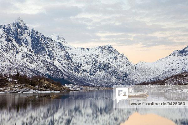 Winterstimmung am Austnesfjord  Lofoten  Norwegen