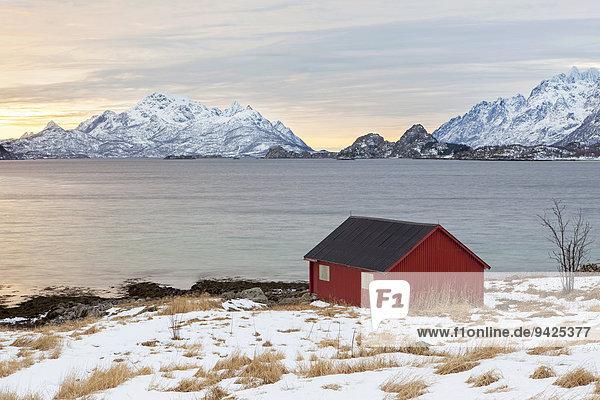 Rotes Haus am Fjord  Winterstimmung  Lofoten  Norwegen
