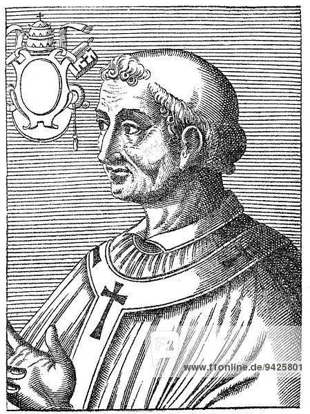 Pope Adrian II or Adrianus PP. II  Hadrian II  or Adriano II  792- 872  Pope from 867 to 872  historical illustration