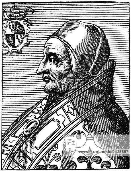Pope Adrian VI or Hadrianus VI  born Adriaan Florensz  1459-1523  pope from 1522 to 1523  Papst Hadrian VI.  Adrian of Utrecht  historical illustration